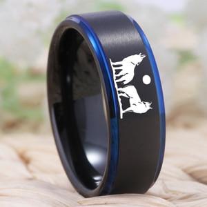 Image 3 - YGK Howling wolf Design Wolfram Ring männer Klassische Hochzeit Engagement Jahrestag Liebhaber der Ring Geschenk Ring Freies Gravur