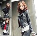 Куртки женщин 2017 новая мода весна осень новая мода pu женщин тонкий короткий кожаный clothing GZ227