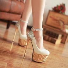 รองเท้าผู้หญิง16เซนติเมตรรองเท้าส้นสูงเป็นพิเศษเซ็กซี่ปั๊มสีแดง/ขาว/สีดำรองเท้าแต่งงานสีขาวเจ้าสาวรองเท้าหมุด