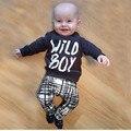2016 outono bebê menino roupas de manga Longa Top + calça 2 pcs terno esporte roupa do bebê set bebê recém-nascido roupas