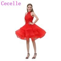 キラキラビーズトップ赤短いカクテルドレスホルターネックフリルスカート短い十代の若者ジュニアのセミフォーマルなカクテルパーティーローブ