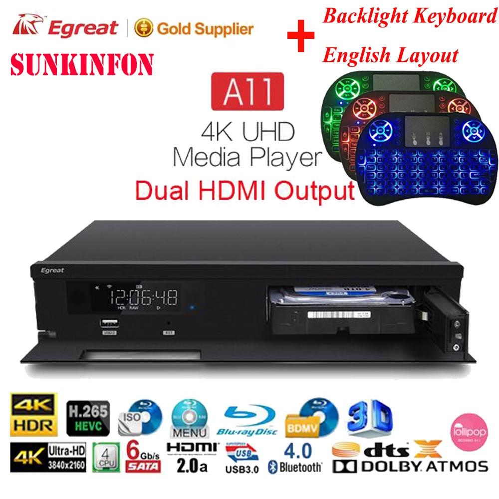 Egreat A11 TV Box 4K UHD Media Player 2G/16G 2T2R WIFI Gigabit LAN Blu-ray 3D Dolby ATOMS DTS X VIDON 2 HDMI Ports PK Egreat A10