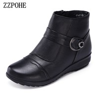 ZZPOHE Winter New Fashion Women Shoes Ladies Leather Flat Ankle Boots Female Casual Soft Platform Warm Snow Boots Women Boots