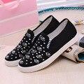 Мода дешевые ботинки холстины женщин цветочный принт туфли на платформе