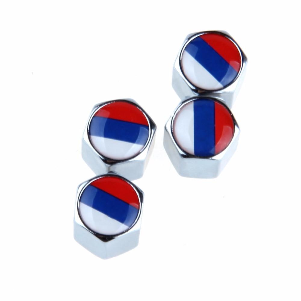 POSSBAY Car Accessories 4Pcs/Set Russian Flag Stainless Steel Car Wheel Tyre Tire Stem Air Valve Caps Airtight Cover Silver