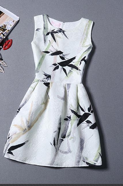 Fashion Women Summer Dress Elegant Ladies Sleeveless Mini Party Dresses Women's Casual Ol Style Printed Dress For Girls Vestidos