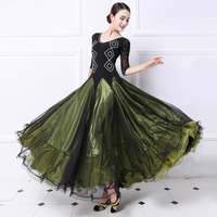 Standard Ballroom Dance Dress For Women High Quaity Dark Green Competition Ballroom Dancing Costume Lady's Flamenco Dresses