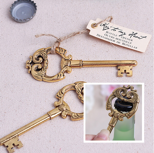 vintage wedding souvenirs festive party supplies event wine bottle opener baby shower birthday key gift favors for guest