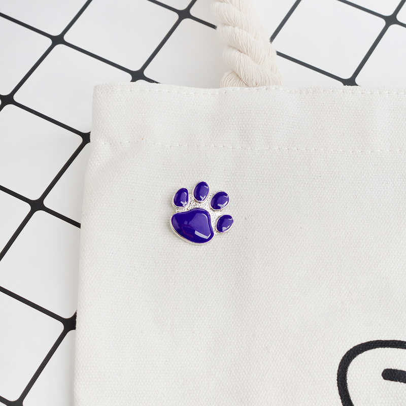 QIHE PERHIASAN Bros & pin Purple paw Bros perhiasan Hewan Peliharaan Anjing cat kekasih perhiasan Hadiah untuk kekasih Kaki kucing anjing hewan bros
