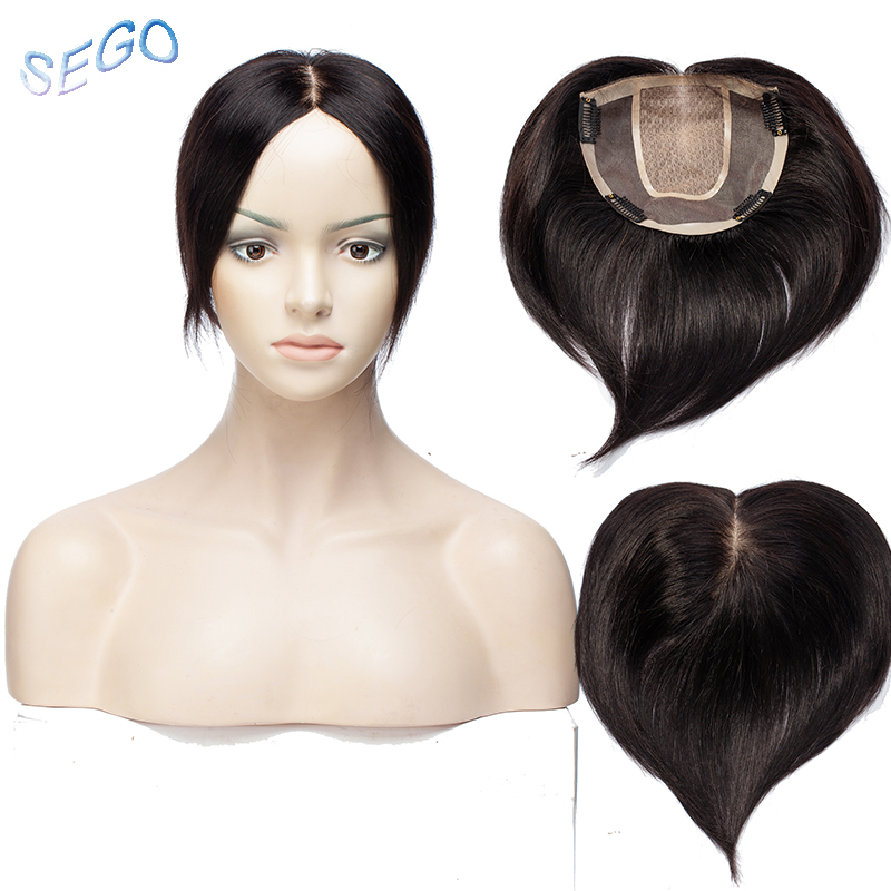 SEGO 6 Inches 15*15 Silk Base Straight Hair Topper Toupee For Women 4 Clips In Human Hair Pieces Closure Non-Remy Hair 42g/PCS