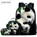Школьные сумки jackhereluk с 3D принтом панды для девочек-подростков  Детский рюкзак  школьная сумка для мальчиков и студентов  чехол-карандаш для ...