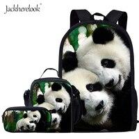 Jackherelook Cute 3D Panda Printing School Bags For Teenage Girls Kids Backpack Boy Student Schoolbag Lunchbox Pencil Case Child