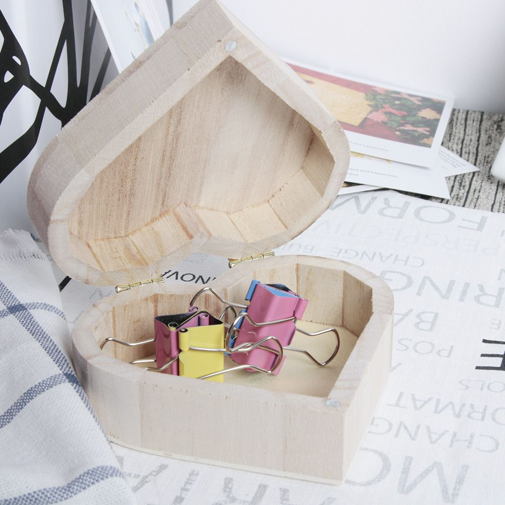 New Arrive Practical Storage Boxes Love Heart Shape Wood Box Jewelry Box Wedding Gift Earrings Ring Desk Paper Clip Case