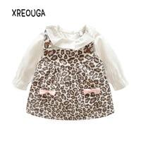 새로운 2 개 여자 아기 표범 드레스 세트 활
