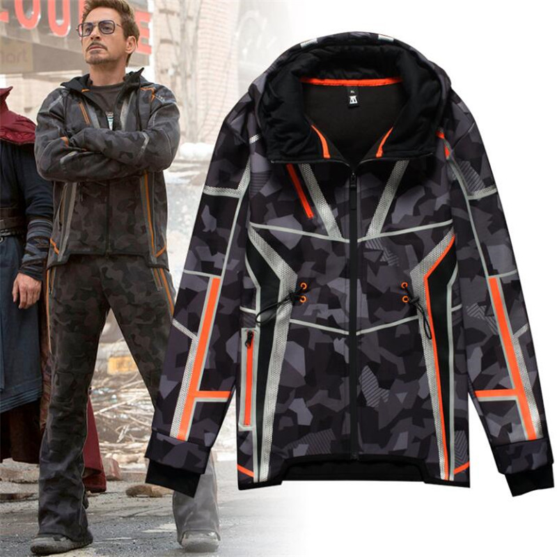 Movie The Avengers 3 Iron Man Winter Jacket Tony Same Style Cosplay Costumes Camouflage Star Love