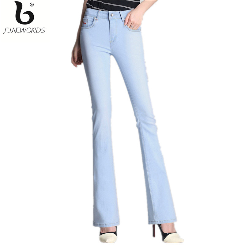 ФОТО FINEWORDS 2017 High Quality High Waist Light Blue Boot Cut Jeans Women Big Bottom Plus Size Stretch 4xl Calcas Feminina Jeans