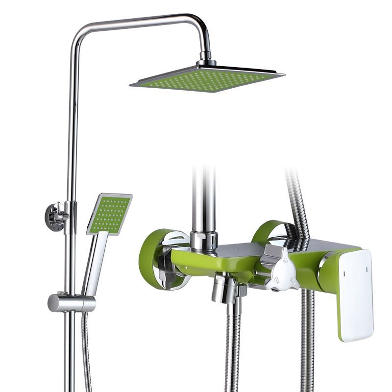 Green Rectangular Round Nozzles Quality Use Copper Into The Wall - Type Shower System Bathroom Shower Set