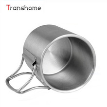 Transhome titanium stil 280 ml edelstahlbecher camping mit deckel falten im freien beweglicher multifunktions kaffee tee becher