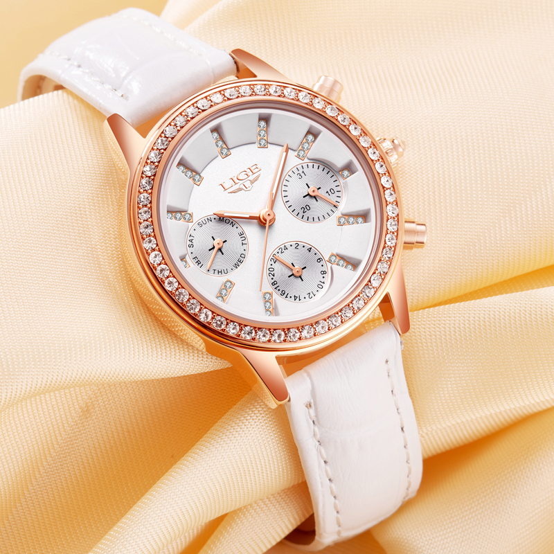 2017 LIGE Luxury Brand Women Dress Watches Ladies Waterproof Leather Quartz Watch Woman Fashion Diamond Clock Relogio feminino цена и фото
