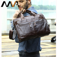 MVA-bolso de hombro de piel auténtica con cremallera para hombre, de piel auténtica bandolera para ordenador portátil, 14 maletines, 9005