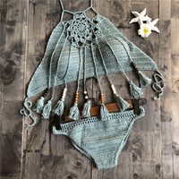 Crochet Bikini Set Push Up Swimwear Halter Bandage Swimsuit High Neck Bikini With Tassel 2018 Women Swim Bathing Suit Beachwear