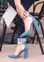 Elegant Women Dark Blue Suede Chinky Heels Stylish Pointed Toe Lace Up Chunky Heel Pumps Classy