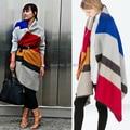 Wj39 nueva marca de llegada 2014 Sinter Sarm sweep bufanda franja Color mezclado bufandas suave comodidad Poncho bufanda envío gratis