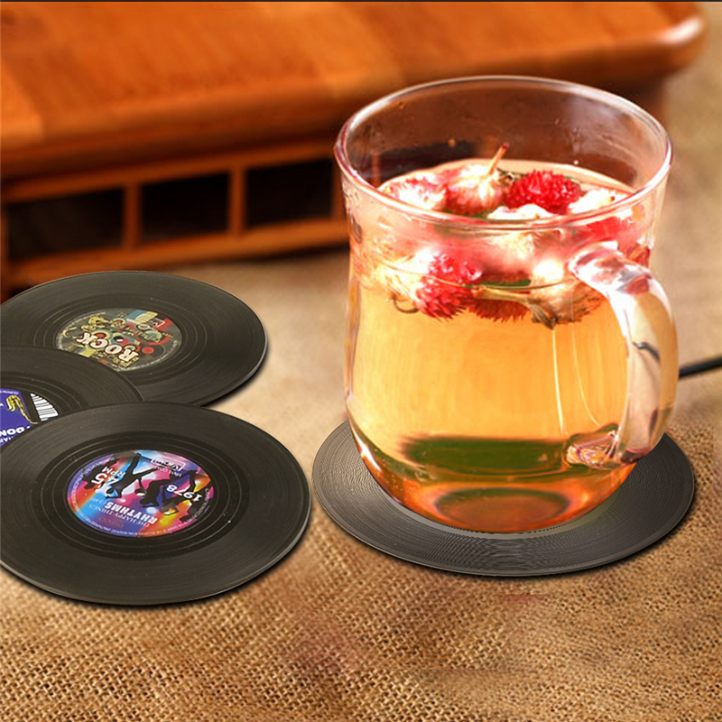 4Pcs/Lot Stylish vinyl Record plastics Coaster Drink Bottle Beer Beverage Cup Mats cup Mat Round Donut Coasters