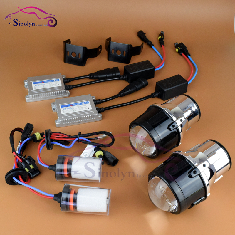 New Upgrade AC Metal Universal HID Xenon Fog font b lights b font Projector Lens Driving