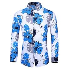 Autumn New 2019 Floral Men Dress Shirts Fashion Beach Hawaiian Brand Slim Fit Long Sleeve Casual Plus Size 7XL