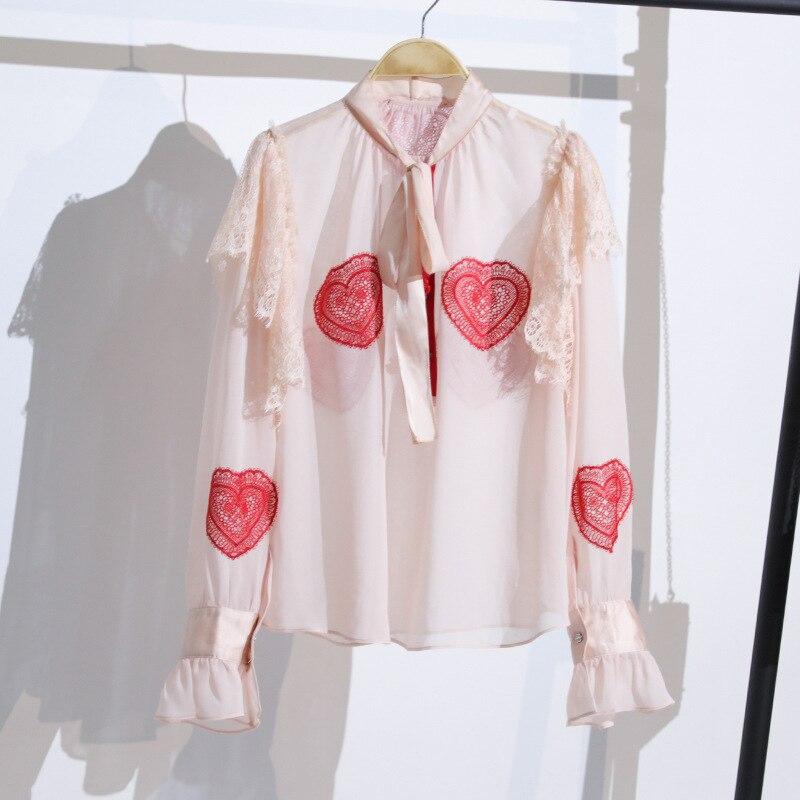 Doux rose femmes Blouses 2018 piste Designer ceinture arc à manches longues dentelle coeur en mousseline de soie Blouse élégant rose chemise haute Blusa Mujer