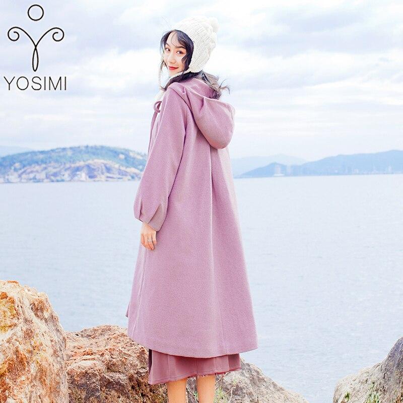 YOSIMI осень зима женское длинное шерстяное пальто красное пальто с капюшоном пальто Макси длинное шерстяное пальто Женская куртка длинное женское пальто