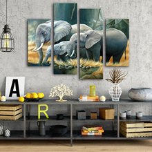 Drop Shipping Canvas Schilderijen 4 Stuks Canvas Foto's voor Woonkamer Moderne dieren Modular Paintings on The Wall Home Decor