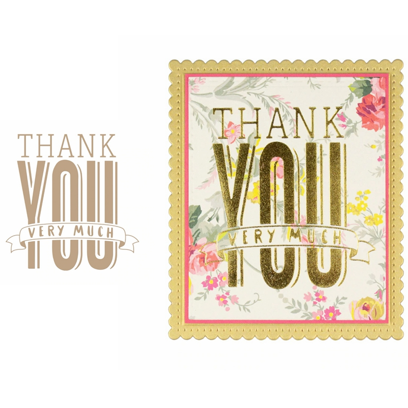 Hot Foil Plate Thank You Very Much Metal Cutting Dies DIY Craft Card Album Embossing Stencil Scrapbooking New 2019