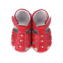 Сандалии для девочек натуральная кожа малыша обувь красного, розового, белого цвета, с закрытым носком; летняя одежда с цветочным рисунком; Модные прочные качества sandq детский