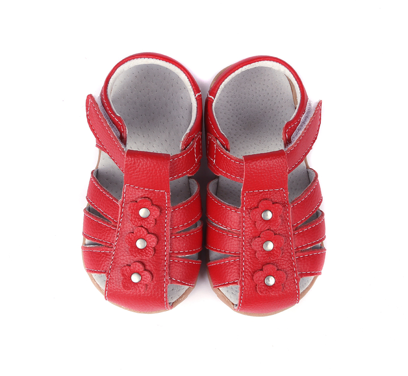 Diligent Girls Sandals Genuine Leather Toddler Shoes Red Pink White Closed Toe Summer Flowers Fashion Durable Quality Sandq Baby