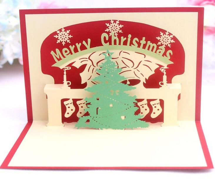 unids rbol de navidad hecho a mano origami kirigami d popup de tarjetas