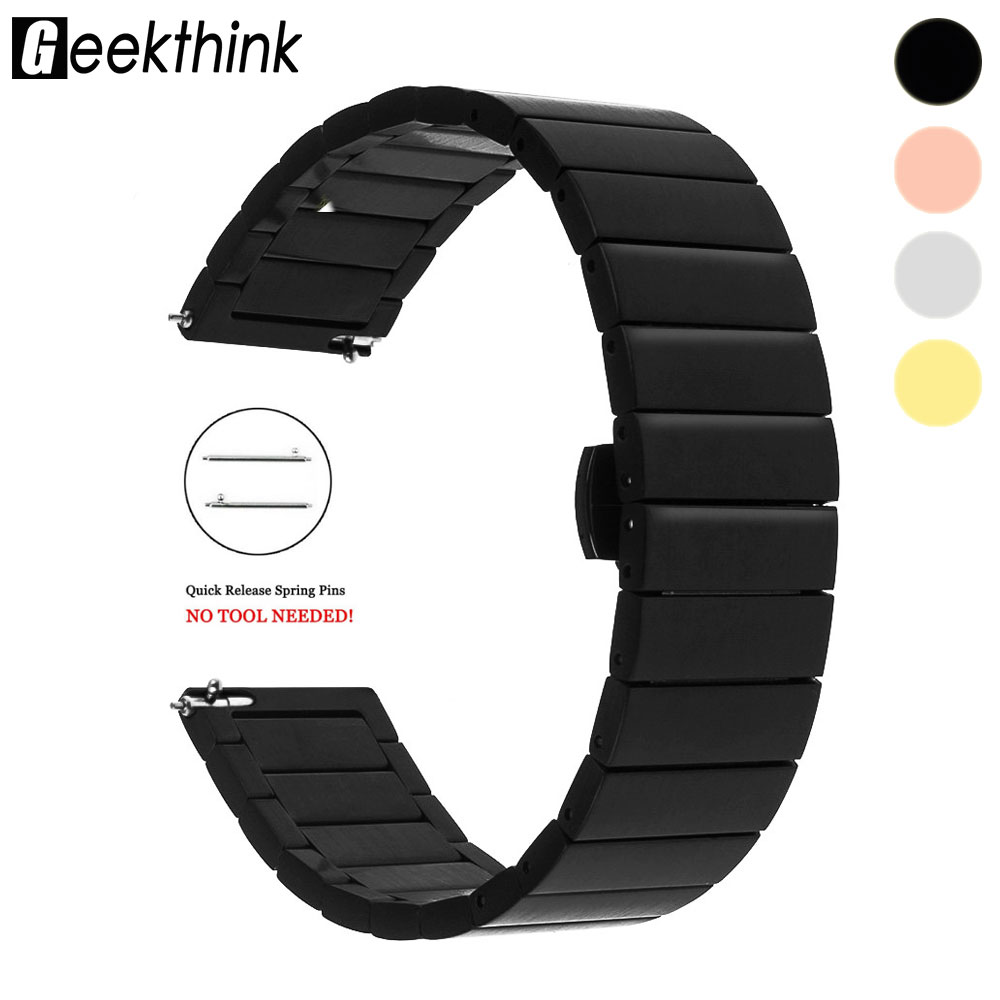 18mm 20mm 22mm Universal Watch Band Strap Stainless Steel Replacement Link Bracelet for Samsung Gear S2 Classic S3 Frontier silicone sport watchband for gear s3 classic frontier 22mm strap for samsung galaxy watch 46mm band replacement strap bracelet