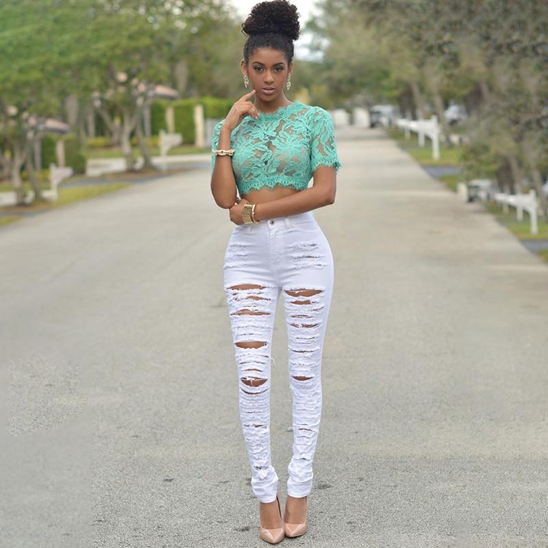 Autumn Summer Hole Ripped Jeans Women Sexy Denim High Waist Elastic Pencil Pants Capris Skinny Slim Black White Jeans Female