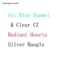 Pandulasoエアブルーエナメル&クリアcz腕輪晴れやか心チャームバングルオリジナルシルバー925ブレスレット&バングルための女