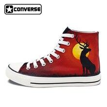 Пользовательские ручной росписью обувь Converse Chuck Taylor оленей в закат высокие холщовые кроссовки уникальные подарки для Для мужчин Для женщин