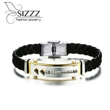 SIZZZ 19.5cm Long 12mm Wide Gold Plating Bracelet With Shiny Rhinestones For Men/Boy