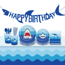 Omilut Baby Shark Birthday Party Decor Cartoon Shower Boy Disposable Tableware Set Cupcake Toppers