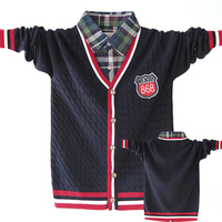 High Quality Children Clothes Kids Boys Sweaters Brand Design Turn Down Fake Collar Outwear Fashion Boys