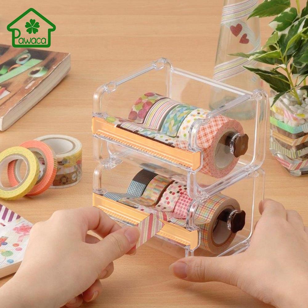 Tape-Holder Storage-Case Scotch Office Plastic Desktop 1pcs Masking-Tape-Cutter Adhesive