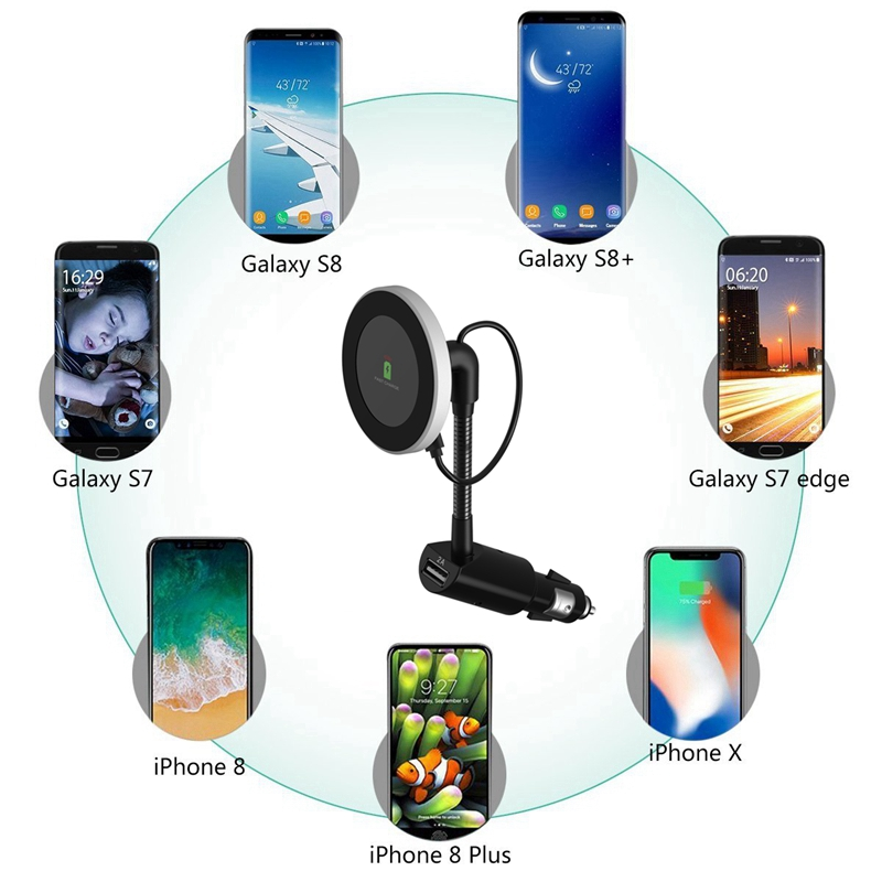 XMXCZKJ Qi Wireless Car Charger Magnetic Holder Wireless Charging Mount Support For iPhone XS Holder Mobile Phone Accessories in Phone Holders Stands from Cellphones Telecommunications
