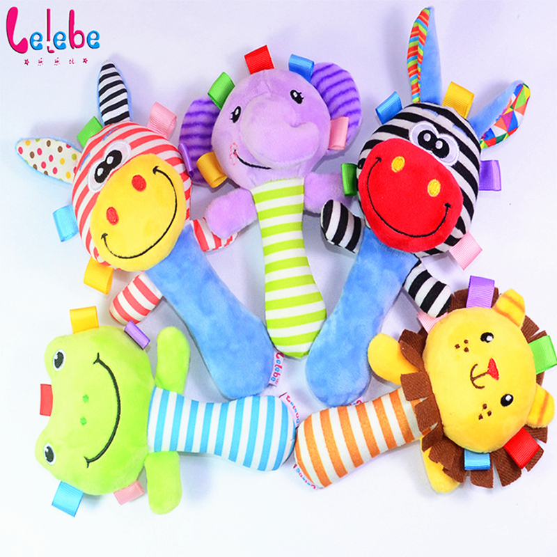 Lelebe Baby Kid Toy Ring Bell BB Baby Early Educational Doll Rod  Cute Cartoon Animal Musical Plush  Rattle Squeaker Toy