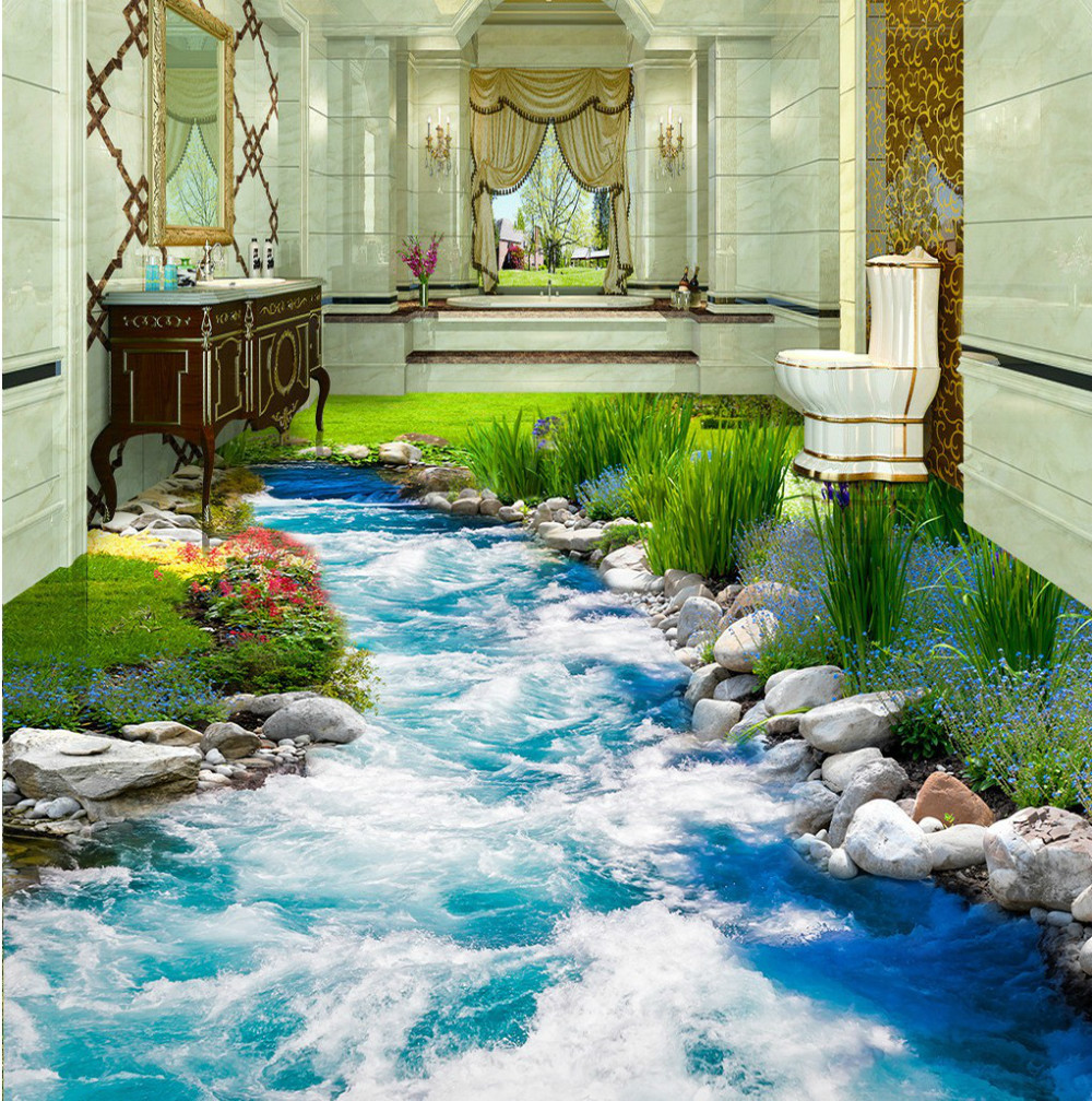 Free Shipping Grass Creek water 3D floor tiles bedroom hotel restaurant nature landscape waterproof floor wallpaper