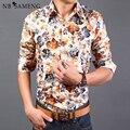 2016 Nuevo Estilo de Primavera y Verano Moda Floral Hawaiano Camisas Hombre de Manga Larga Casual Camisa Slim Fit Camisa Masculina 13M0039