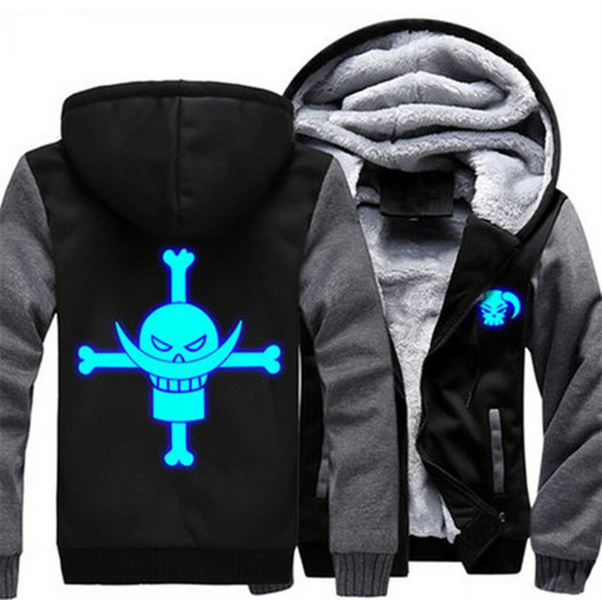 USA size Men Women Anime One Piece Edward Newgate Cosplay Luminous Jacket Thicken Hoodie Coat